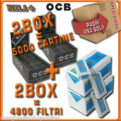 5000 CARTINE OCB Premium corteNERE=2box + 4800 FILTRI 5,5MM RIZLA ULTRASLIM 2box