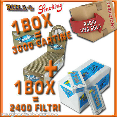 3000 CARTINE Smoking OROcorteDOPPIE=1box+2400 FILTRI 5,5MM RIZLA ULTRASLIM 1box