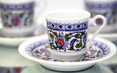 Traditional Turkish Style Coffee Cups Espresso Cups & Saucers Flower Tale  2pcs