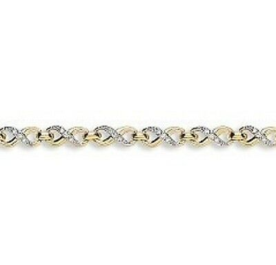 9Ct Hallmarked Yellow Gold Figure Of 8 (Infinity) Gemset Bracelet 7.5 Inch