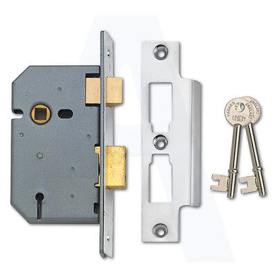 Union 2277 3 Lever Mortice Door Sashlock 100mm Satin Chrome Keyed To Differ