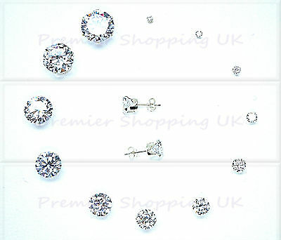 Silver Cubic Zirconia Cz Stud Earrings Round Clear All Sizes 925 Silver