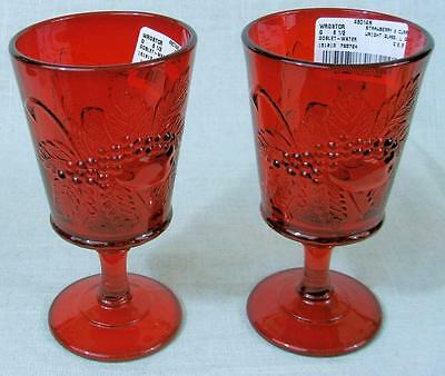 Two - WRIGHT GLASS - STRAWBERRY & CURRANT - RUBY RED - WATER GOBLETS