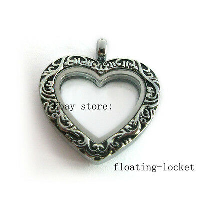 1pc Antique Peach Heart Living Memory Glass Locket DIY Floating Charms Necklace