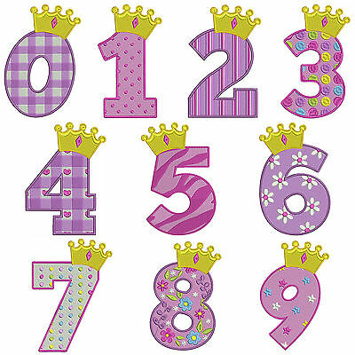 * PRINCESS NUMBERS * Machine Embroidery Patterns * 10 Designs, 3 Sizes
