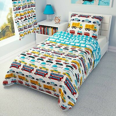 Cot/Cot Bed Bedding set Duvet Cover+Pillowcase Baby, Toddler - CARS, TRANSPORT