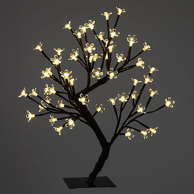 45cm 64 Warm White LED Cherry Tree with Square Metal Base Christmas Decoration