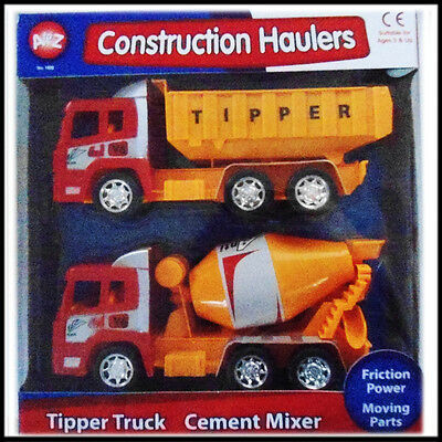Friction Powered Construction Vehicle Kids Tipper Truck and Cement Mixer Play