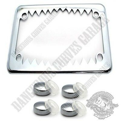 "Show Chrome Metal Shark 4"" x 7"" Motorcycle License Plate Frame FREE CAPS"