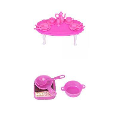 Doll House Dining Table Room For Barbie Kitchen Cooking Utensils Set