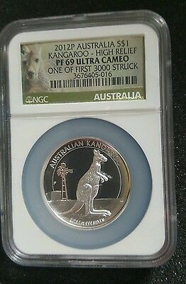 2013 P Australia Kangaroo  High Relief S$1 1oz .999 Silver Proof Coin NGC PF69