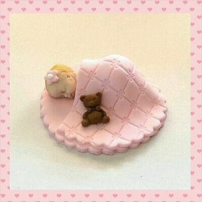 1 edible BABY and Teddy  cake topper BABY  shower fondant cake decorations