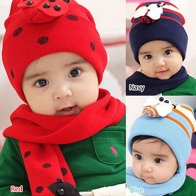 Toddler Infant Baby Kid Boy Girl Warm Winter Beanie Hat Head Cap with Scarf Sets