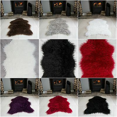 New Soft Fluffy Plain Bedroom Faux Fur Fake Non Slip Rubber Single Sheepskin Rug