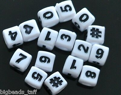 100pcs cube white number &heart, # beads 6mm buy 4 get 1 free, put 5 into basket