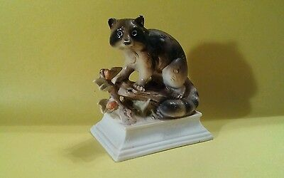 Collectible Porcelain RACCOON Figurine on branch