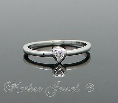 Sterling Silver Plate Clear Cubic Zirconia Love Heart Solitaire Womens Girl Ring