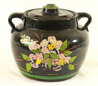 Vintage McCoy Black Stoneware Crock Cookie Jar w/lid Handles Floral Bean Pot