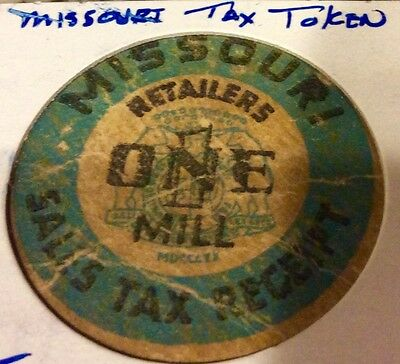 Vintage Sales Tax Receipt Token - Missouri Retailers One Mill