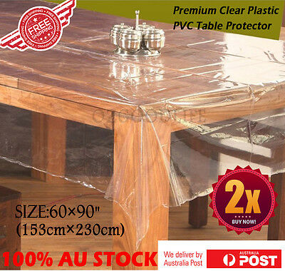 2xClear Plastic PVC Table Protector Dining Picnic Camping Cloth 153 X 230CM