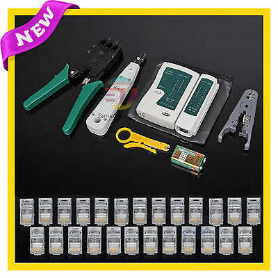 AU Network Cable Tester Tool Kit Rj45 Lan Crimp Punch Down Stripper Modular Plug