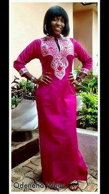 Odeneho Wear Ladies Pink Polished Cotton Long Dress/Embroidery.African Clothing