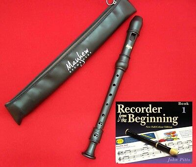 HIGH QUALITY School Descant/Soprano RECORDER with BEGINNING TUTOR Book 1, Mayhew