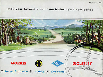 Morris Wolseley Riley MG 1957-58 UK Market Sales Brochure Minor MGA Magnette