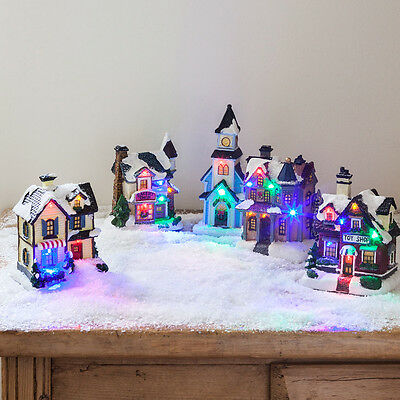 Battery Operated LED Light Up Houses Christmas Village Scene Decorations
