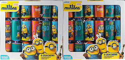 Set Of 12 Minions Christmas Table / Tree Crackers - With Goggles, Gift, Joke