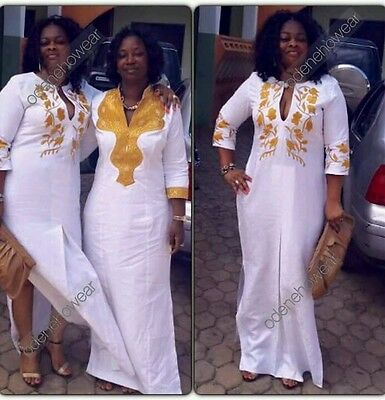 Odeneho Wear Ladies White Polished Cotton Long Dress/Embroidery.African Clothing