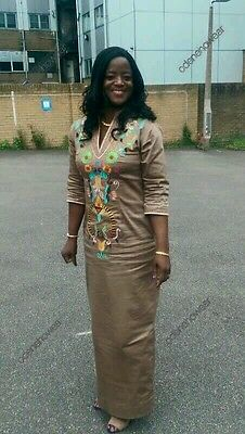 Odeneho Wear Ladies Tan Polished Cotton Long Dress/Embroidery.African Clothing.
