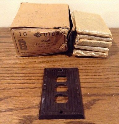 Vintage Lot 6 ART DECO P&S Uniline BAKELITE Three Opening Wall Plate Cover NOS
