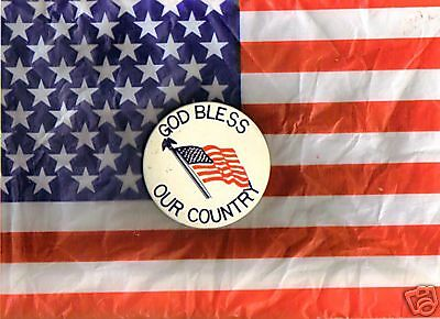 "3"" Button-Pin God Bless Our Country"
