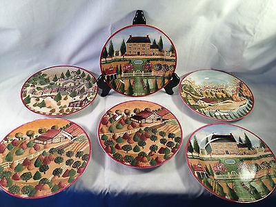 Block by Gear COUNTRY VILLAGE 6 4 Seasons Salad Plates Spring Fall Summer Winter