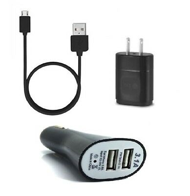 Lg 0.85 Amp Oem Original Wall Charger Adapter+Lg Micro Usb+Dual Usb Car Adapter