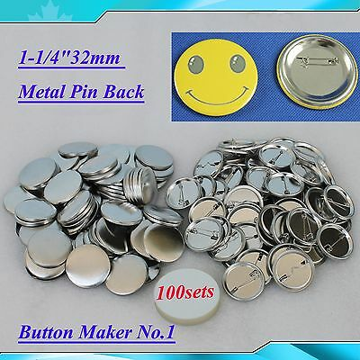 "1-1/4""32mm 100sets  Metal Pin Badge Button Parts Supplies for Button Maker DIY!!"