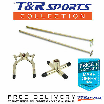 Snooker Pool 2X 2-Pieces Cues + Brass Cross Spider Rest Head Free Delivery