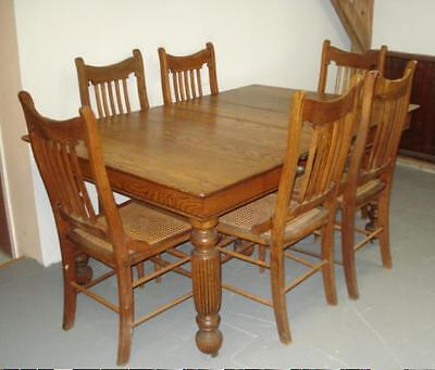1890s COUNTRY TABLE & 6 CHAIRS Cane Seats CARVED TIGER OAK Good Condition