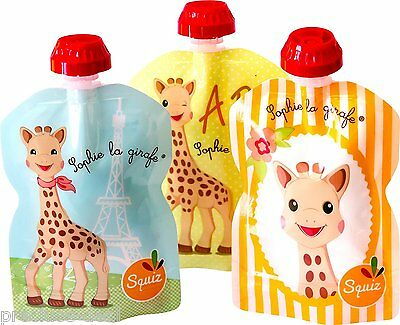 Pack of 3 SQUIZ Sophie la Girafe 90ml*3 Reusable Food Pouches for Babyfood kids