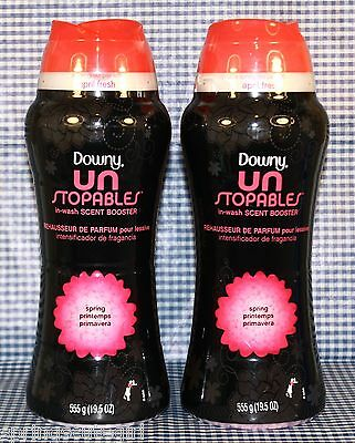 2 Downy Unstopables SPRING Laundry In-wash Scent Booster for Clothes 19.5oz ea