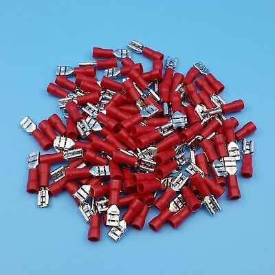 100Pcs Red Female 4.8mm Spade Insulated 22-16AWG Wire Crimp Terminals