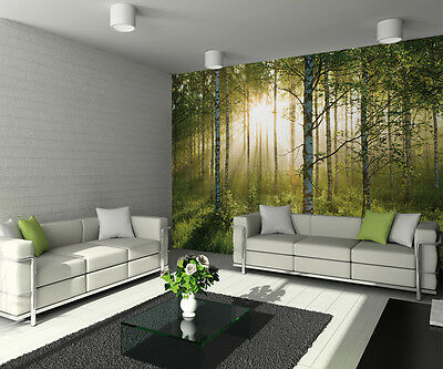 315x232cm Giant wall mural photo wallpaper Green sumer forest scene Trees decor