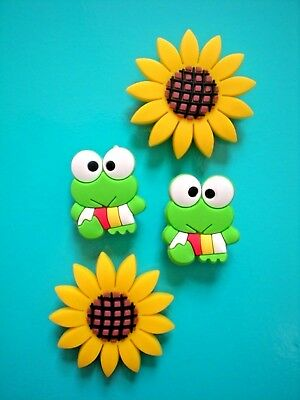 Shoe Clog Charm For Wristband For Accessories Sun Flower Frog