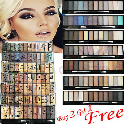 Technic Eyeshadow 12 Shades Palette Mega Nude Smokey 2 3 4 Sultry Eye Makeup New