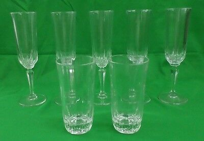 Royal Astoria 24% Lead Crystal Glass Champagne Flute & Beverage Tumbler Lot of 7