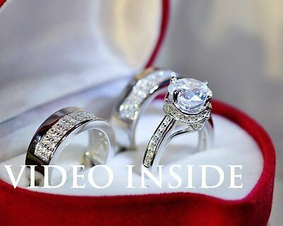 5.14 Ct  Round Cut Created Diamond Engagement Wedding Ring in 925 Silver