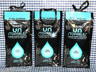 3 Downy Unstopables FRESH SCENT Laundry In-Wash Scent Booster TRY ME Sample Test