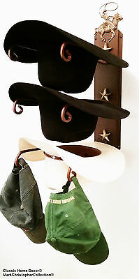 American Made Cowboy Hat Rack Cowboy Roper with Stars Powder Coated Rust