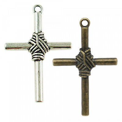 Wraparound cross XL 32 x 50 mm Silver Bronze Pendant Wrapped Rosary Crucifix